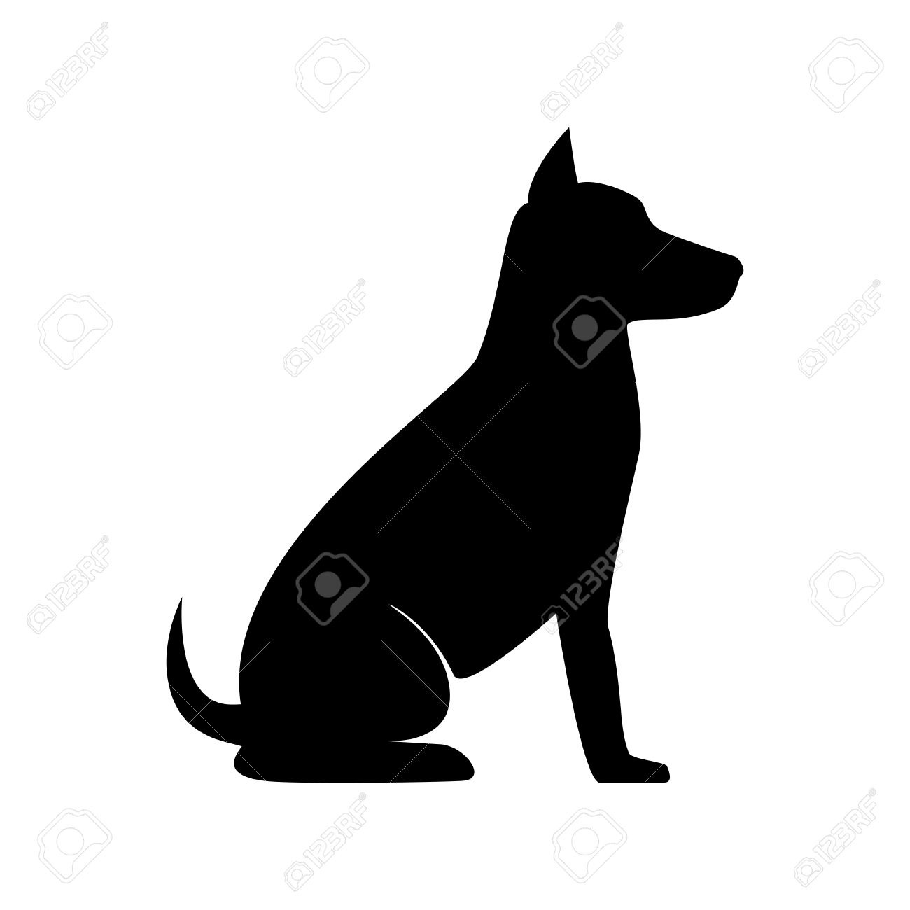 Dog Sit Pet Canine Animal Puppy Mascot Silhouette Vector