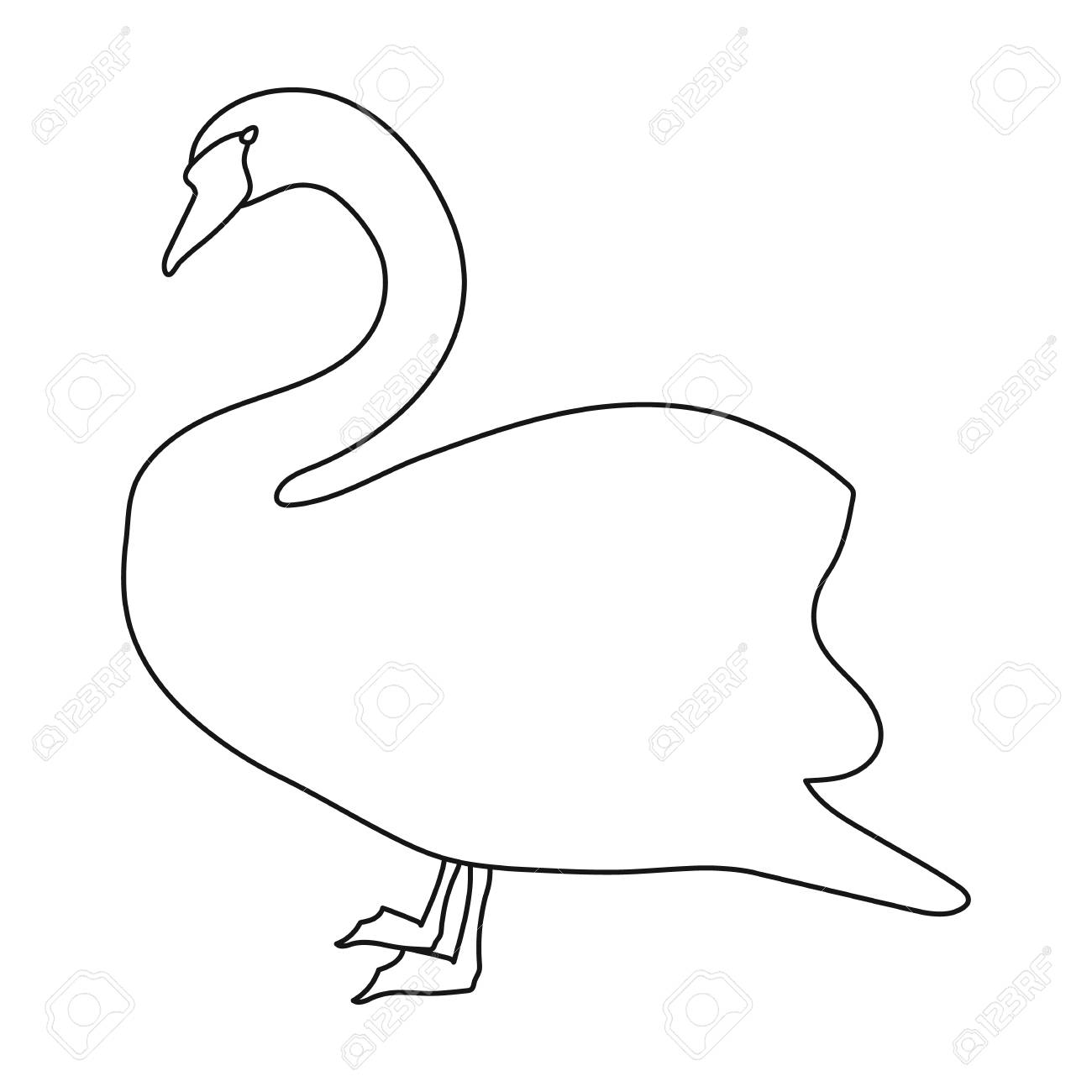 Swan Icon In Outline Style Isolated On White Background  Bird