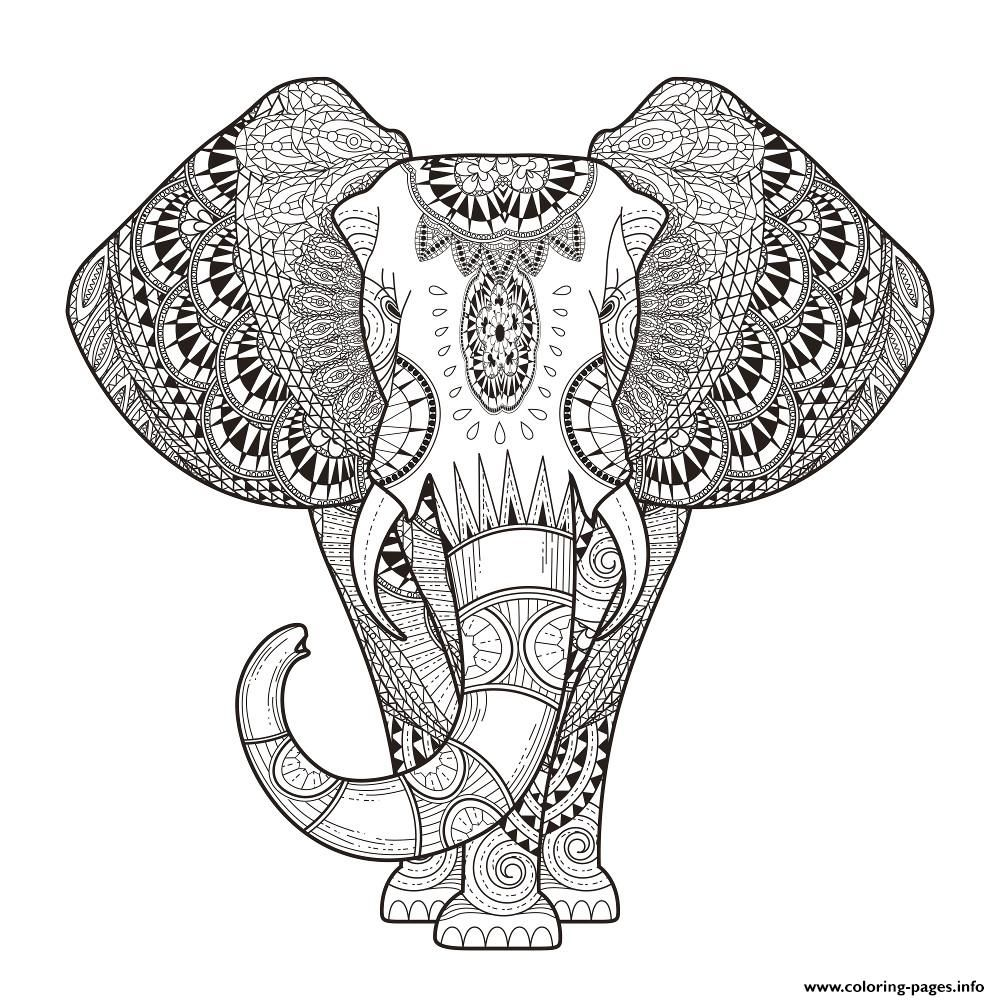 Print Elephant For Adult Hard Difficult Zen Anti Stress Animal