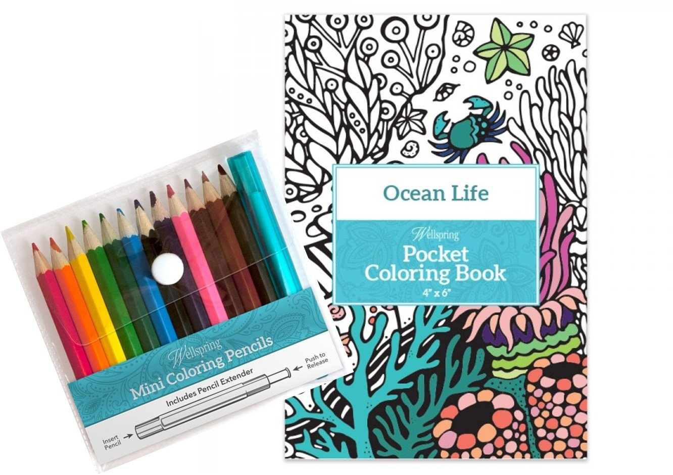 Wellspring Pocket Coloring Book & Coloring Pencils Set (ocean Life
