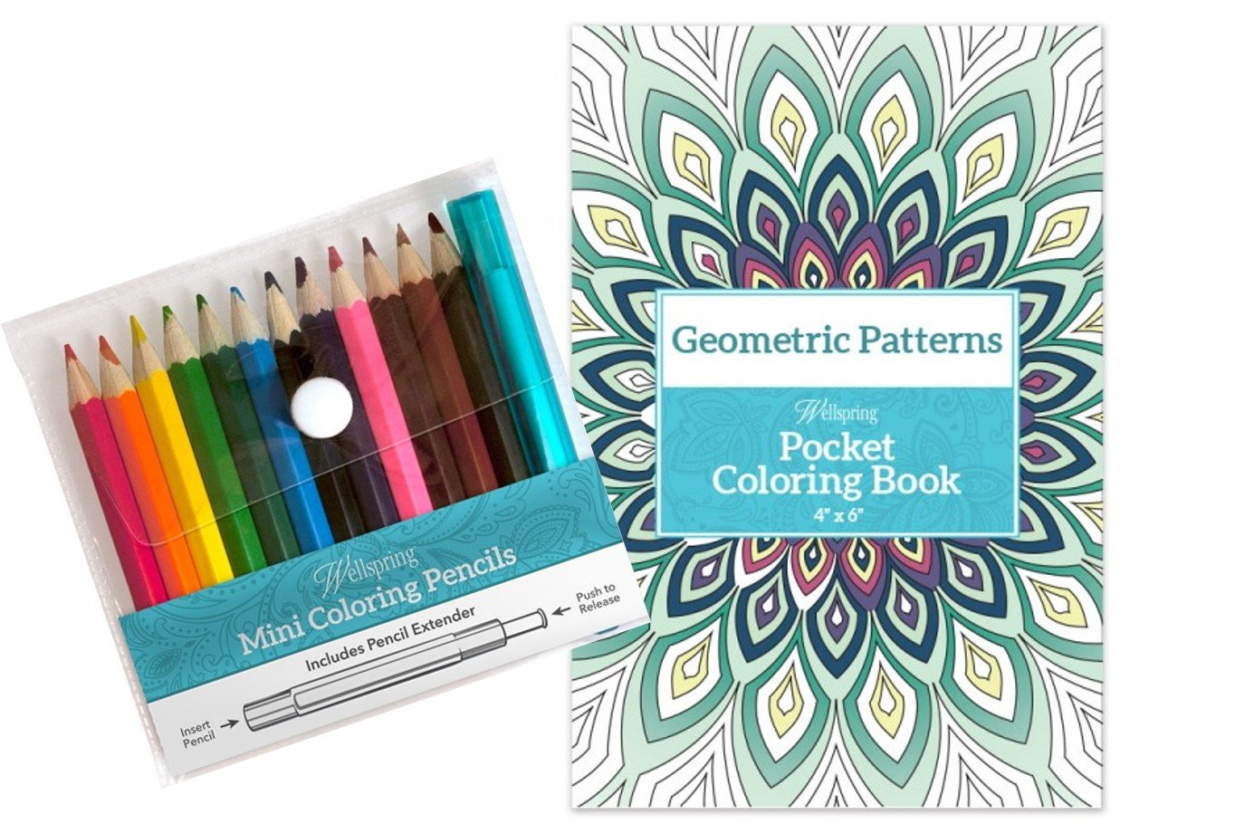 Wellspring Pocket Coloring Book & Coloring Pencils Set (geometric