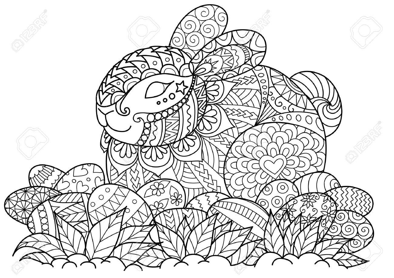 Little Bunny Sitting On Easter Eggs For Adult Coloring Book Page