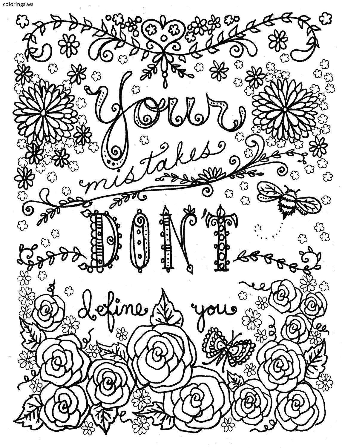 Mistakes Sayings Coloring Page, Sayings Coloring Pages, Free