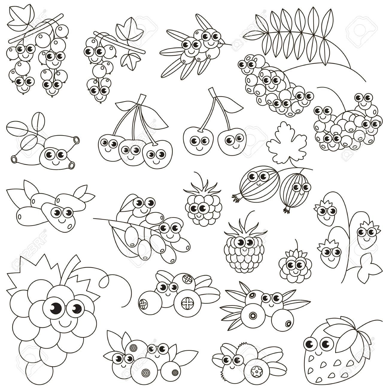 Conjunto De Divertidos Dibujos Animados Bayas Para Colorear  Libro