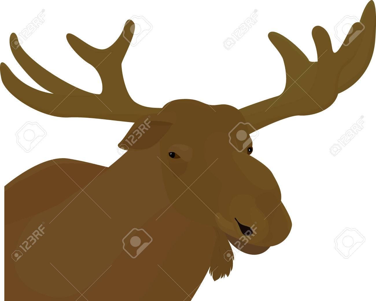 Elk Head Brown Color Vector Royalty Free Cliparts, Vectors, And