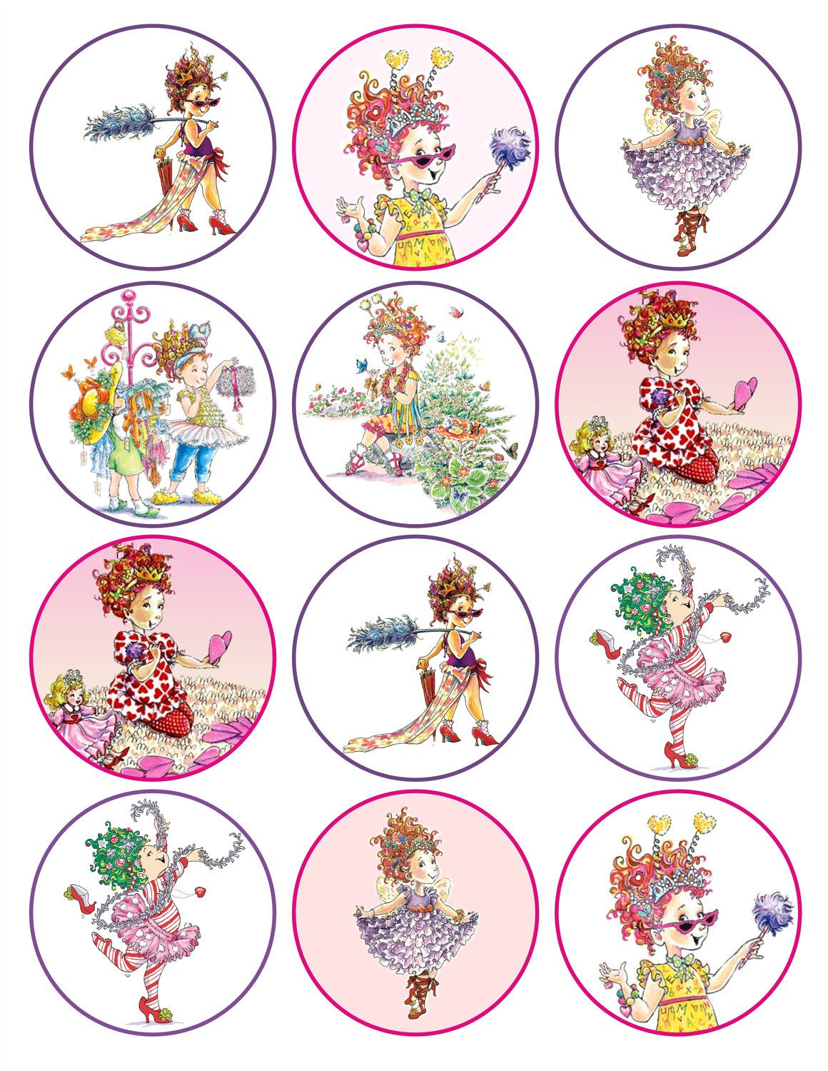 Fancy Nancy Printable Birthday Party Cupcake Toppers Favor Tags