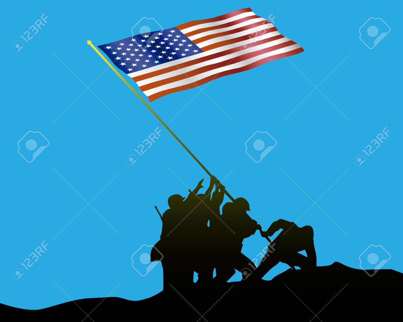 Raising The Flag On Iwo Jima On A Blue Background Royalty Free
