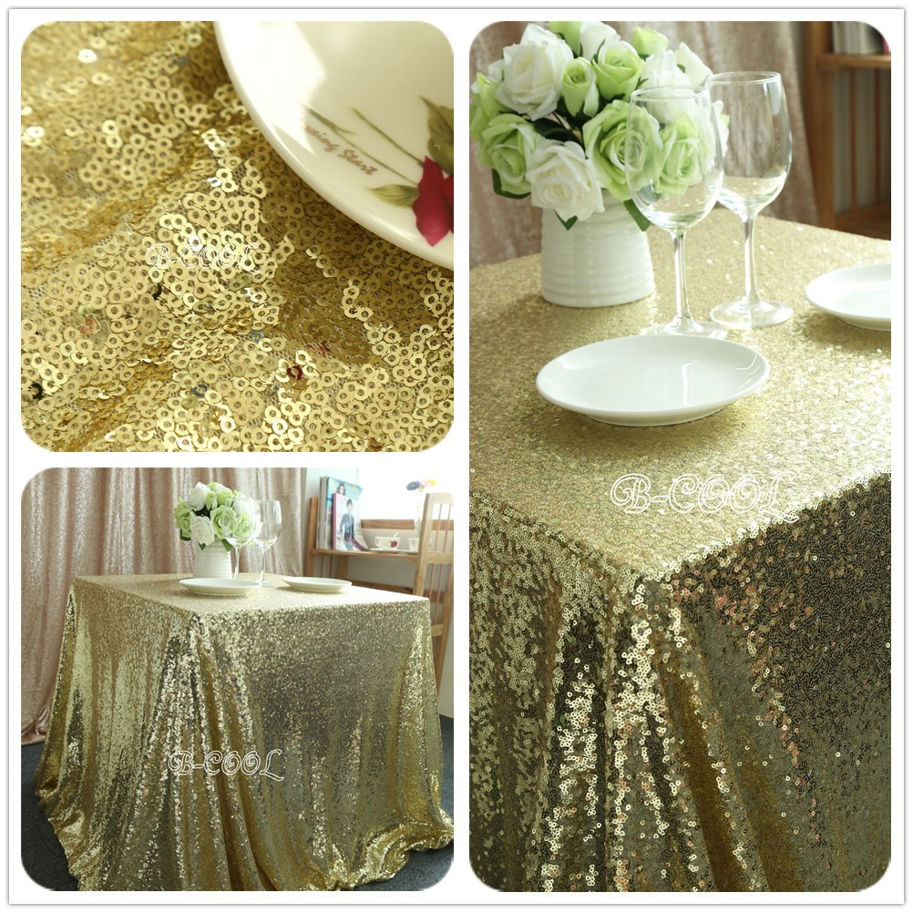 Rectangle Light Gold Sequin Tablecloth,hand Embroidery Designs