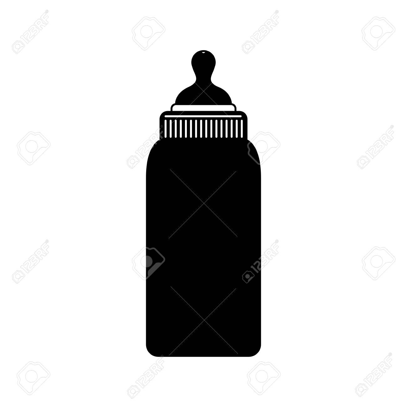 Black Silhouette Of Bottle Baby With Pacifier Vector Illustration