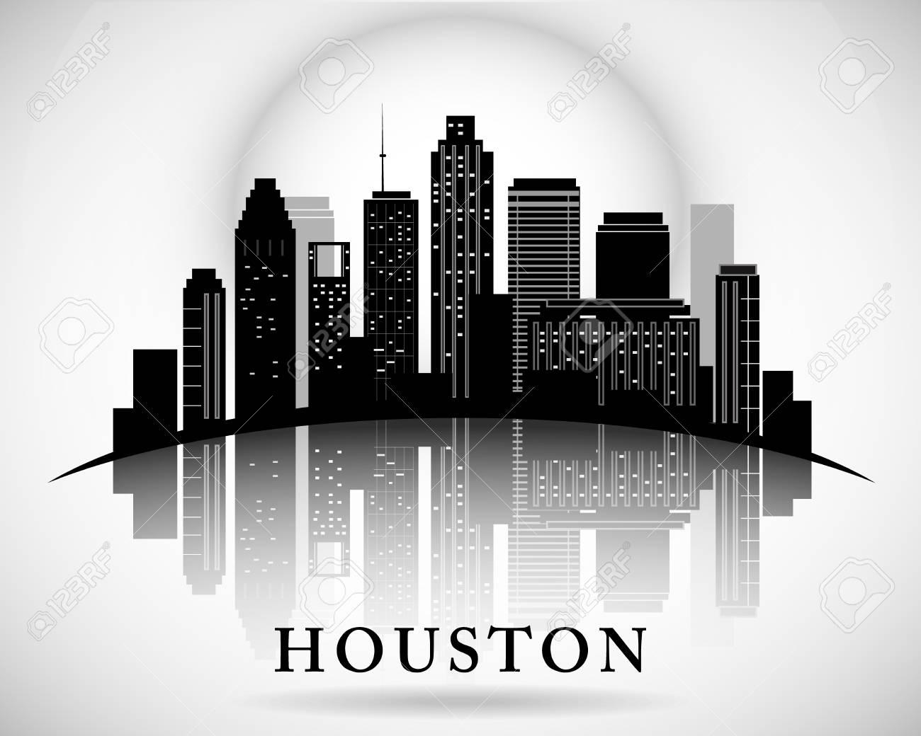 Houston Texas Skyline City Silhouette Royalty Free Cliparts