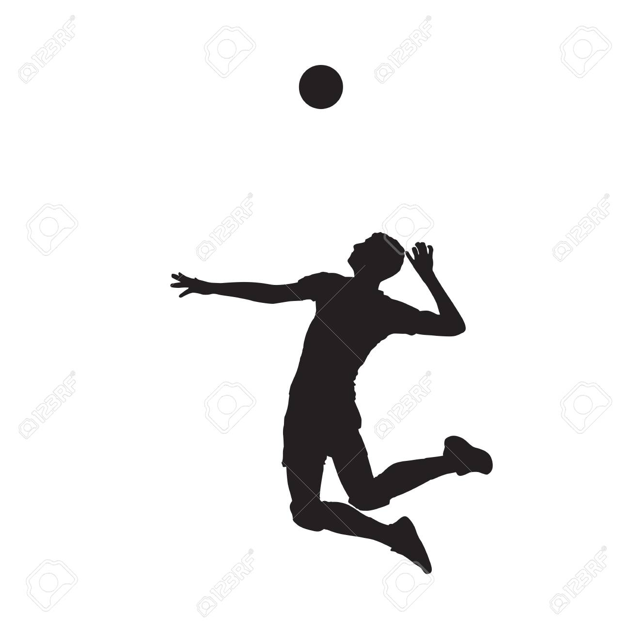 Volleyball Player Isolated Vector Silhouette, Side View Royalty
