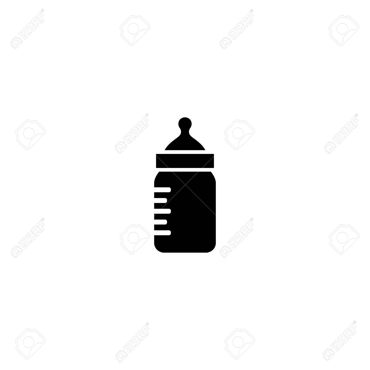 Baby Bottle Silhouette Icon On White Background  Royalty Free