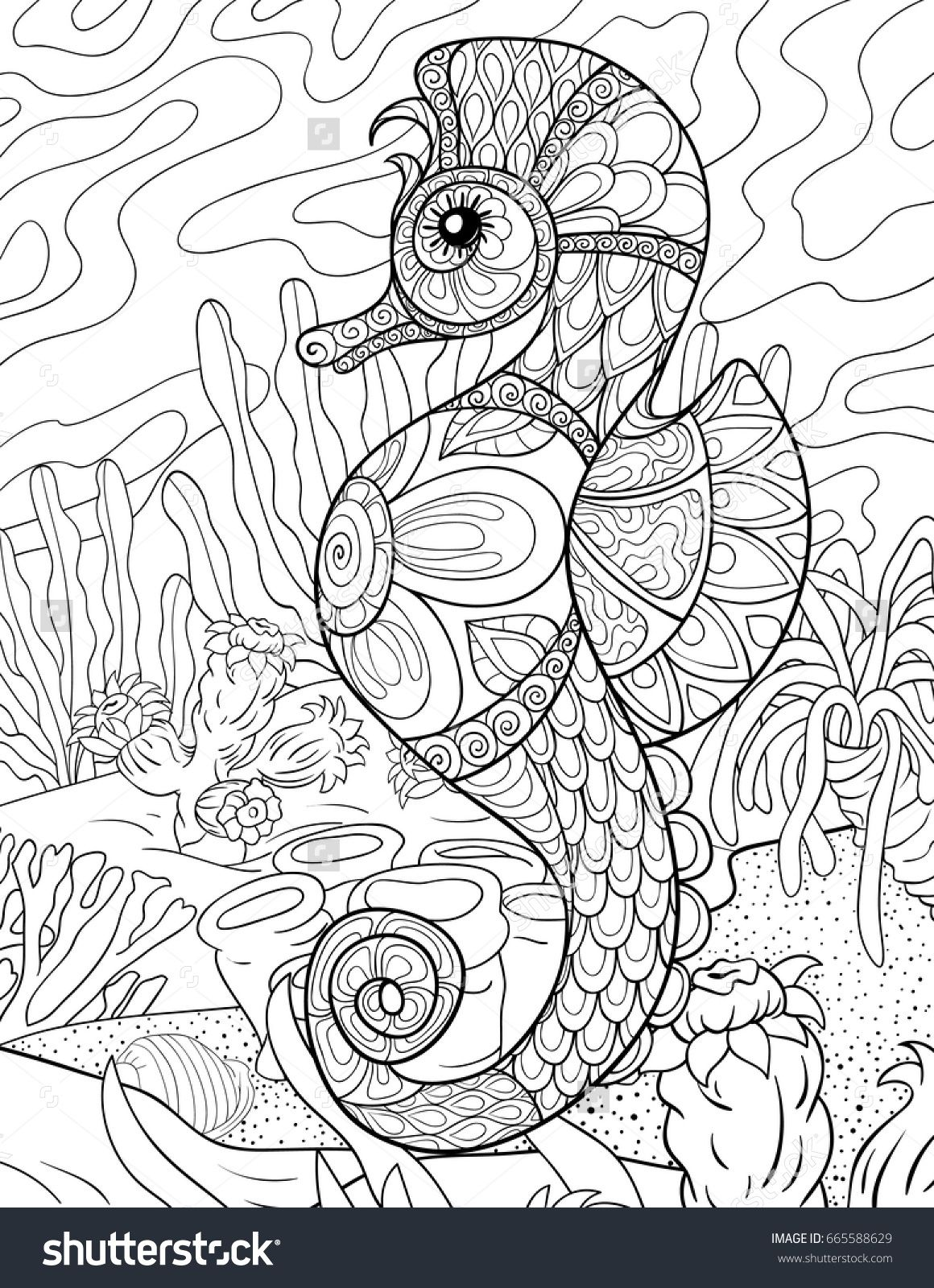 Adult Coloring Page,book A Seahorse With Background Zen Art Style