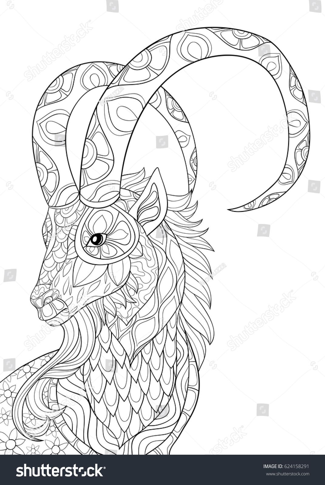 Adult Coloring Page Goat Zen Art Style Illustration