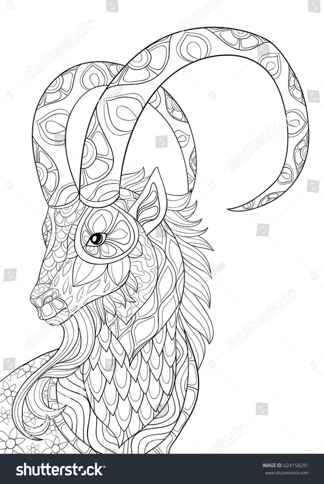 Adult Coloring Page Goat Zen Art Style Illustration