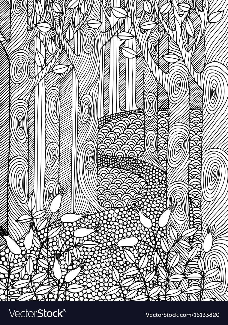 Adult Coloring Book Page Design With Forest Trees Vector Image