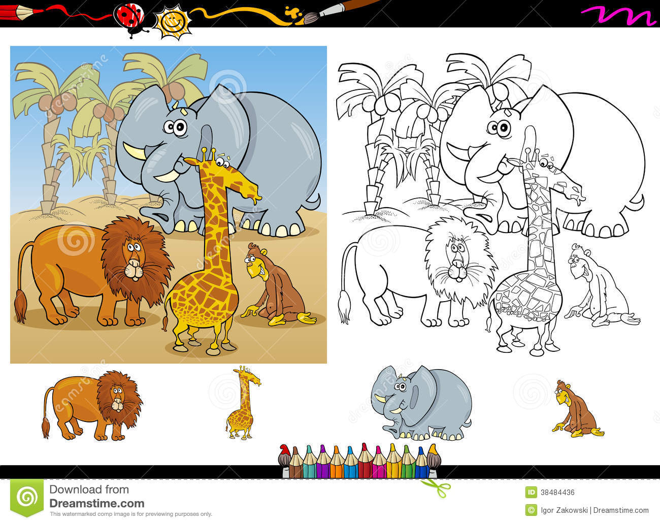 African Animals Coloring Page Set Stock Vector