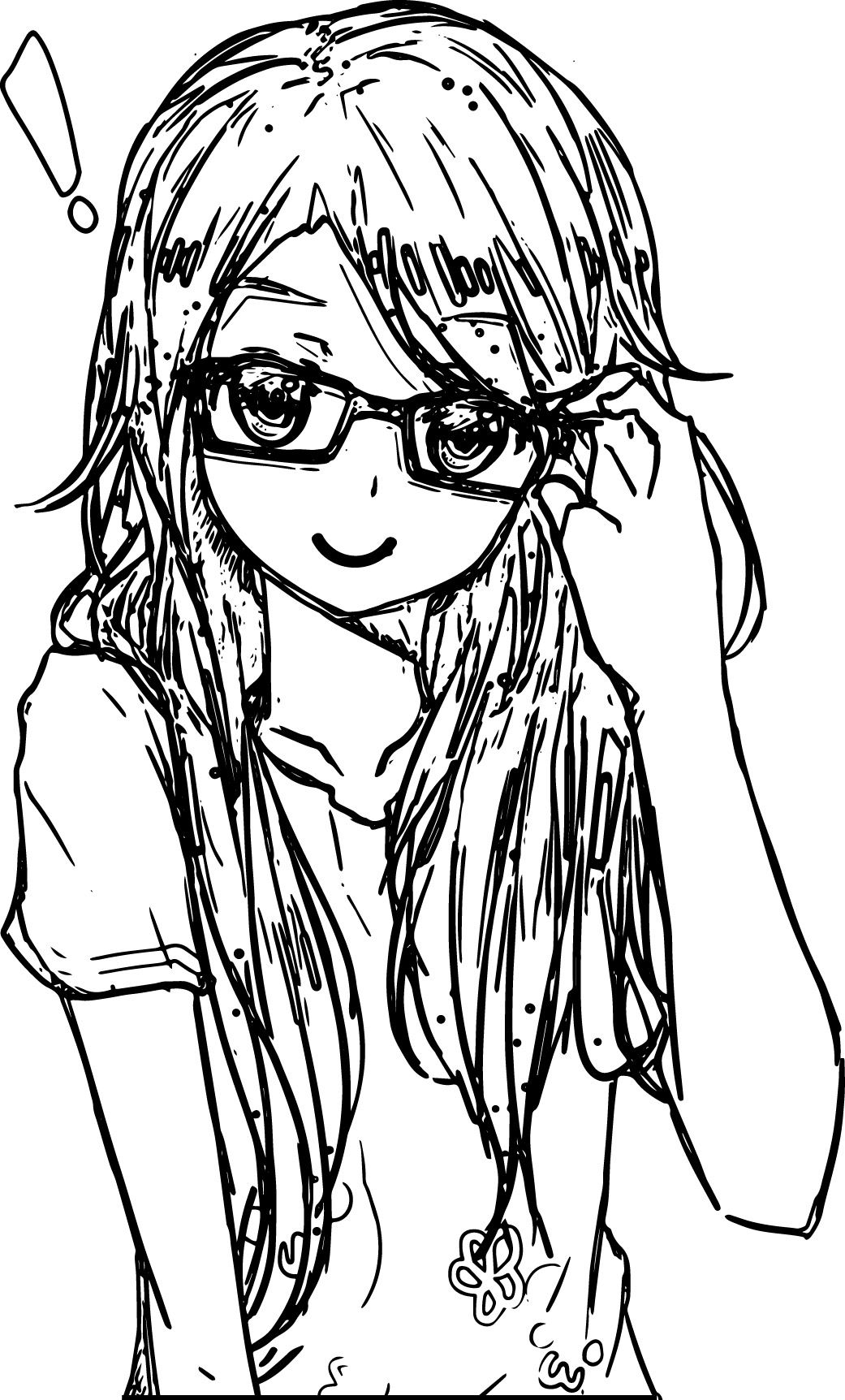 Anime Colring Pages With Awesome Anime Art Girl Glasses Coloring