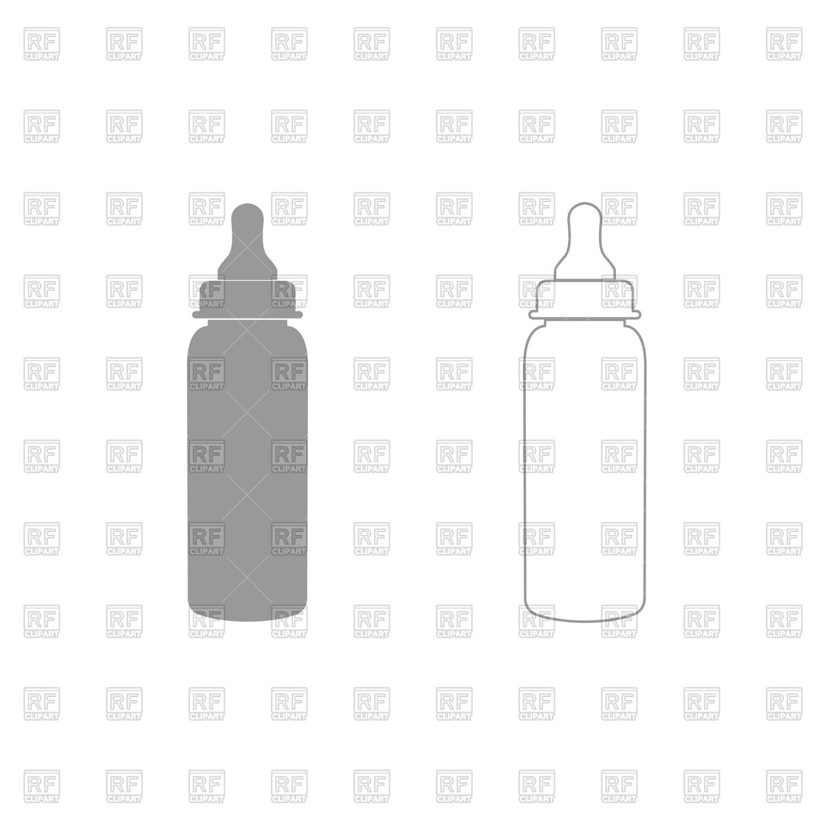 Baby Bottle Silhouette And Outline Vector Image Of Objects