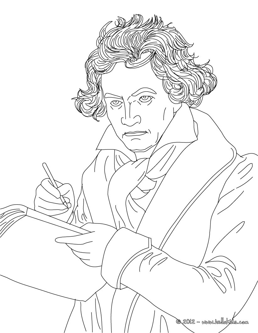 Ludwig Von Beethoven Famous German Composer Coloring Pages