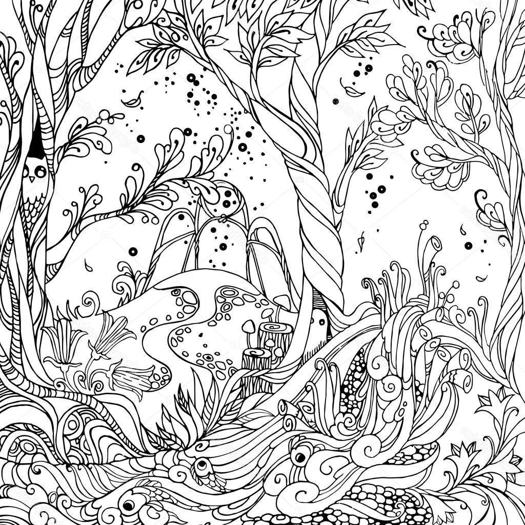 Best 15 Stock Illustration Fairy Forest Adult Coloring Page Pictures