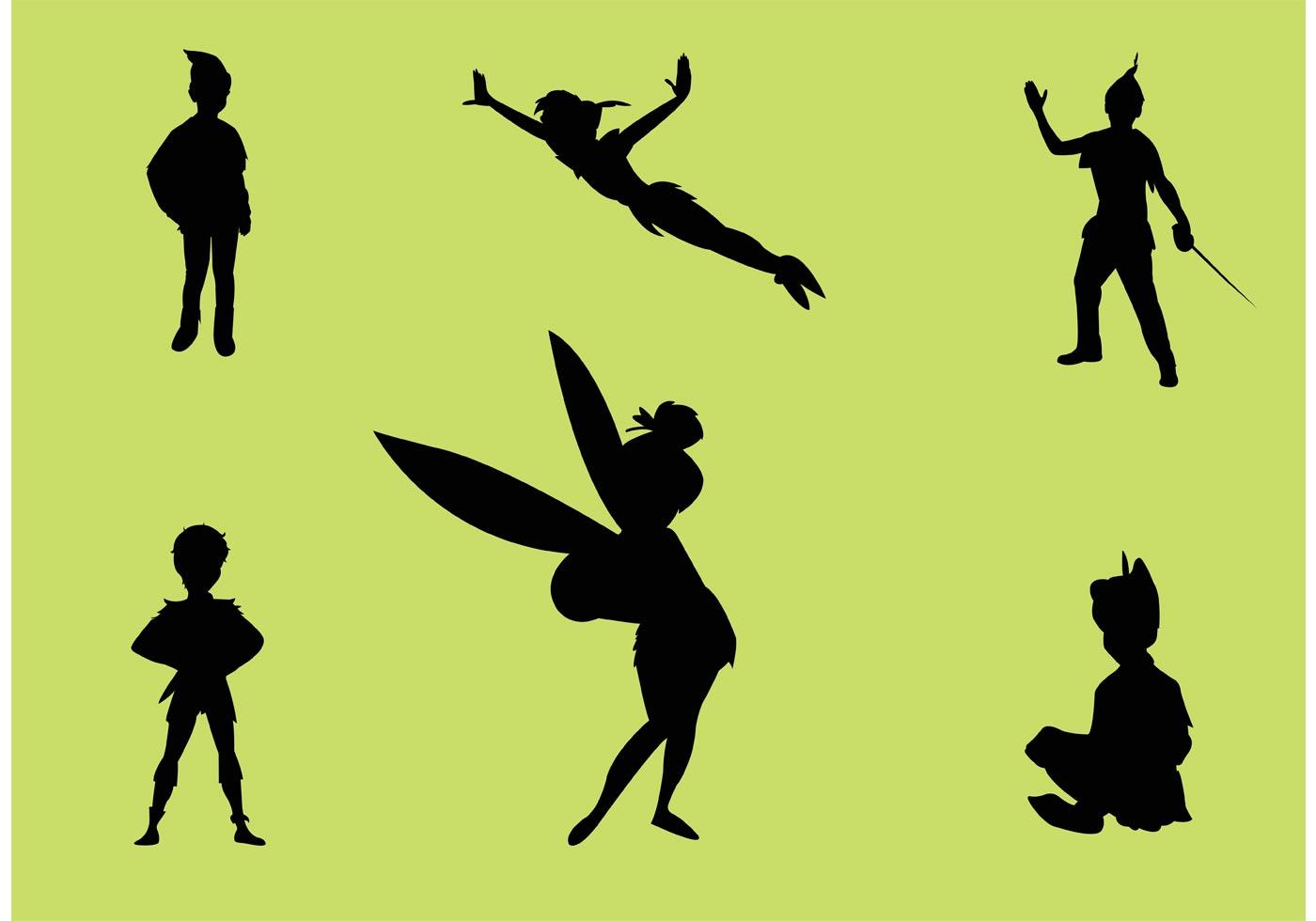 Hd Peter Pan And Tinkerbell Flying Vector Images » Free Vector Art