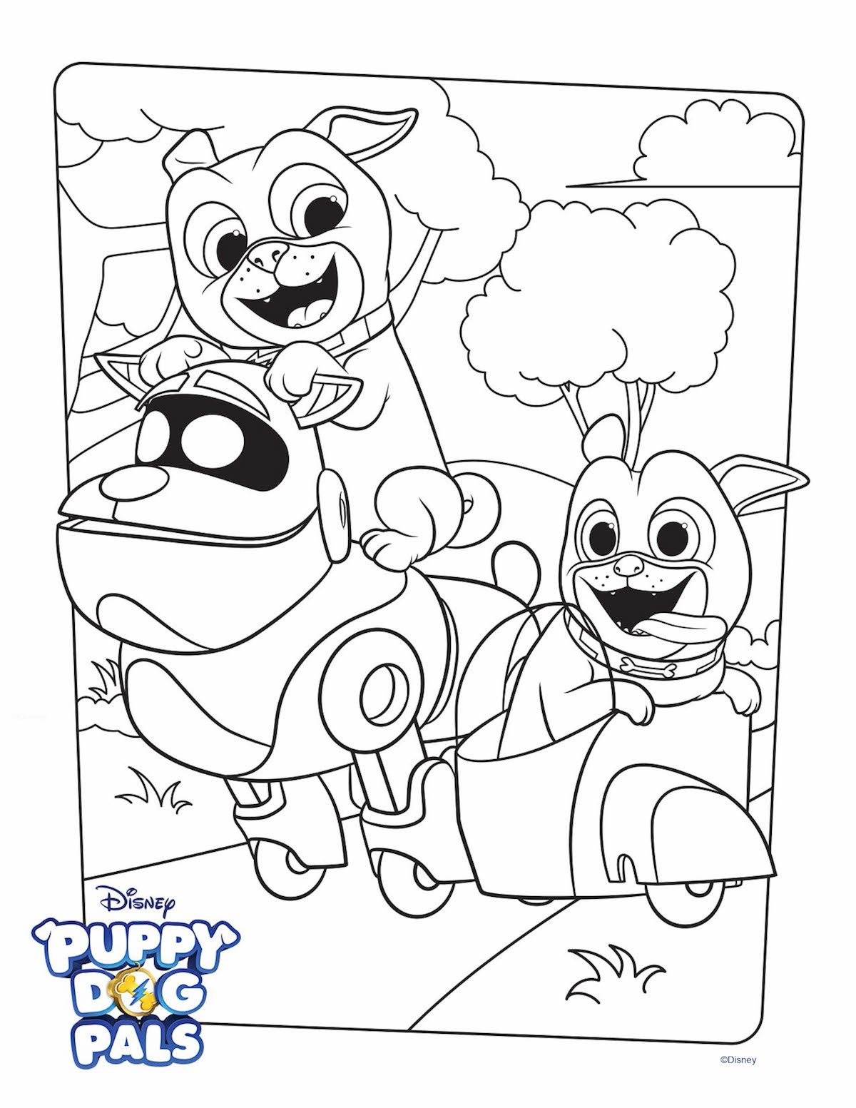 Puppy Dog Pals Coloring Page Activity