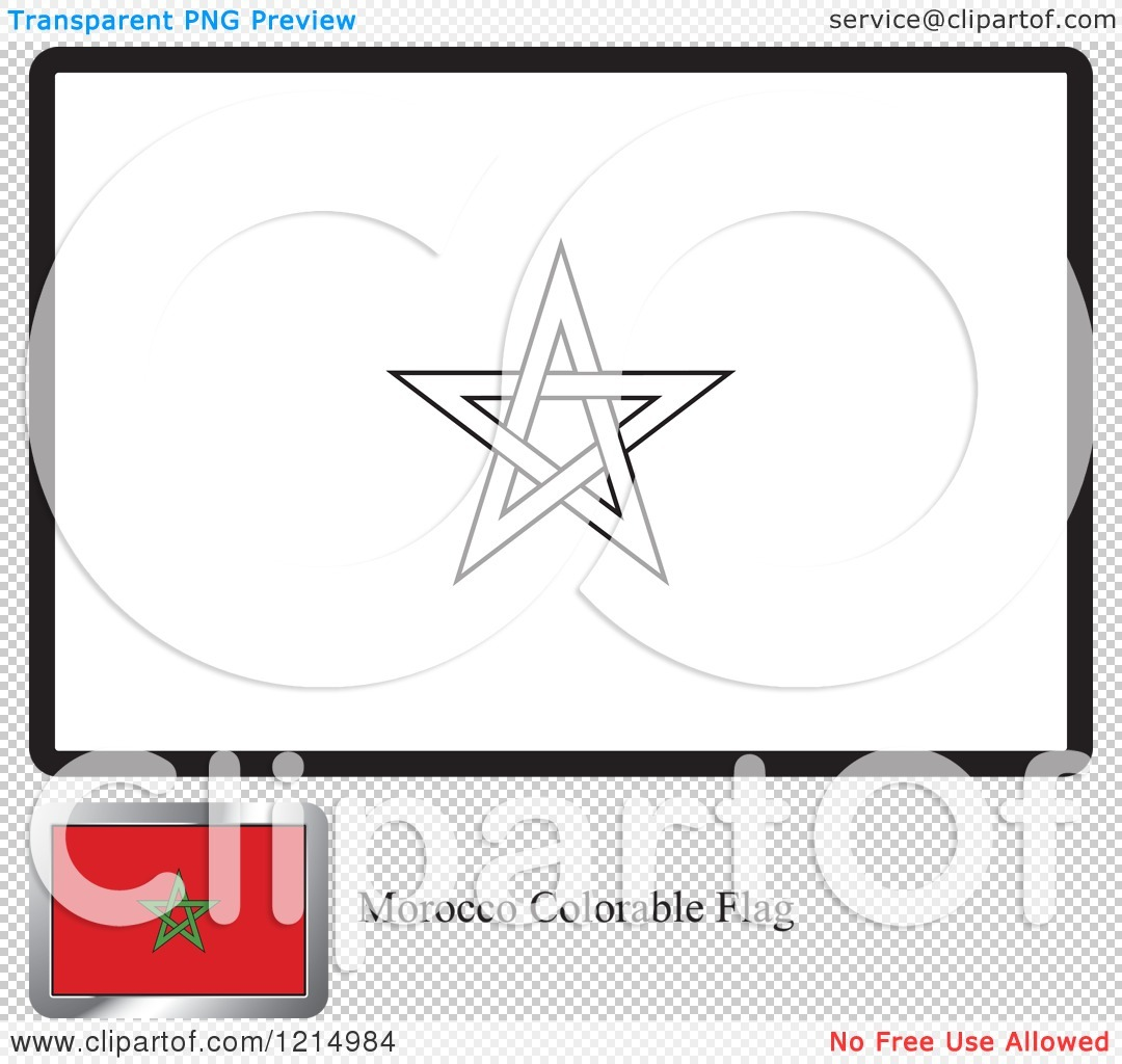Clipart Of A Coloring Page And Sample For A Morocco Flag