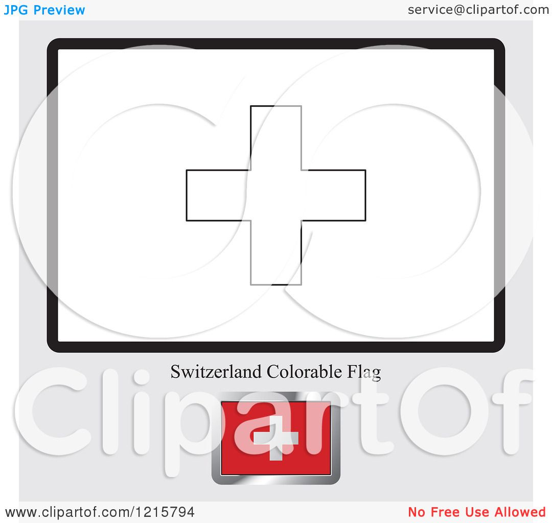 Clipart Of A Coloring Page And Sample For A Switzerland Flag