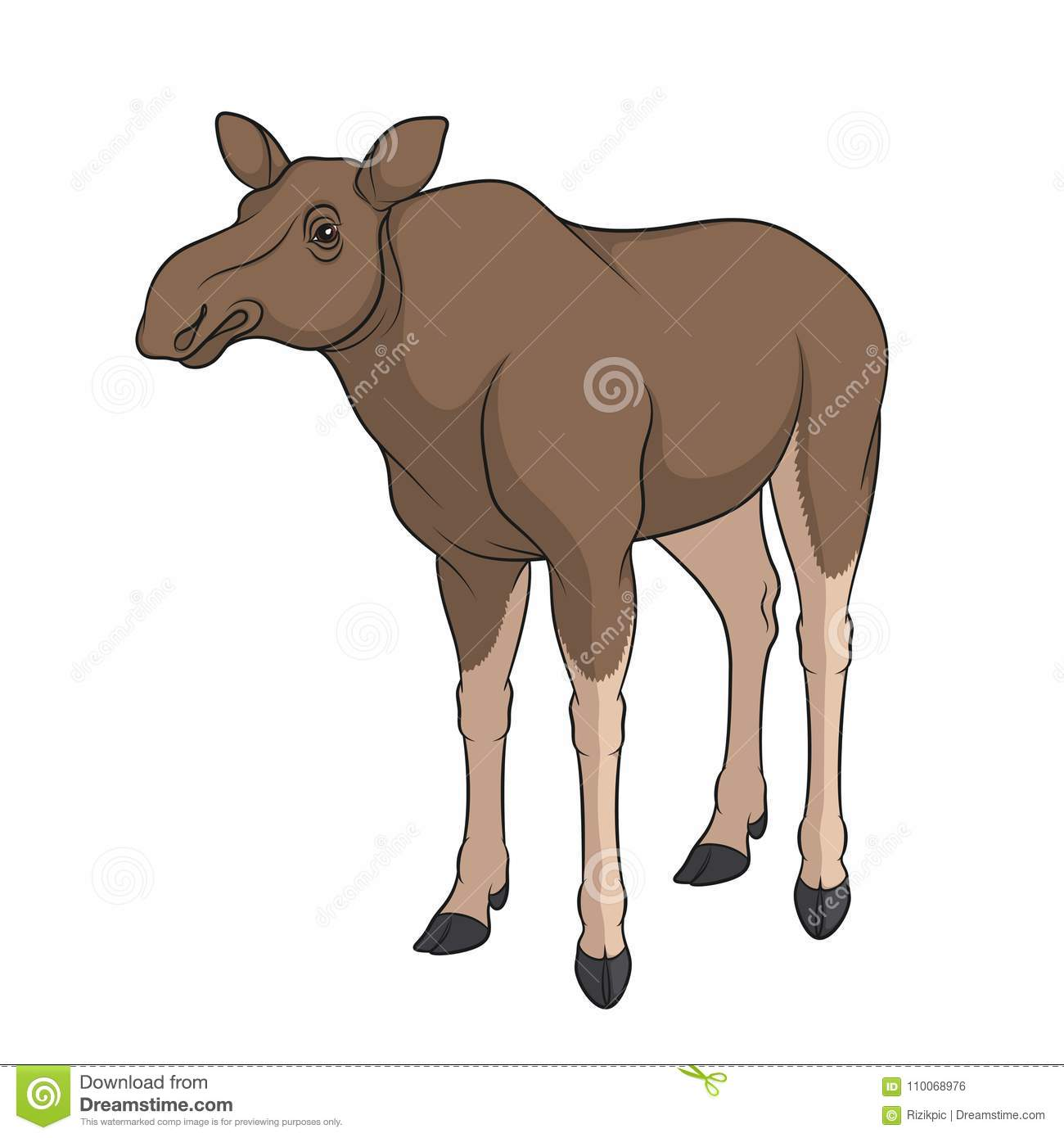 Color Image Of Elk, Moose  Isolated Vector Object  Stock Vector