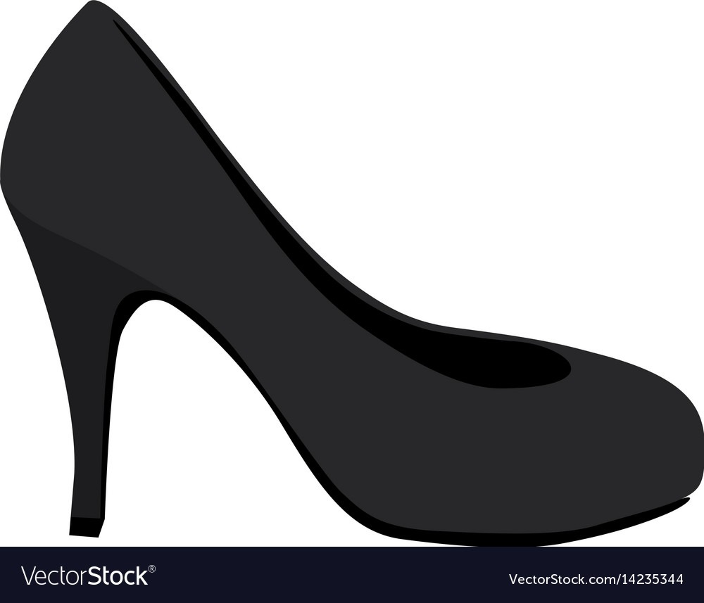 Color Silhouette Of High Heel Shoe Black Vector Image