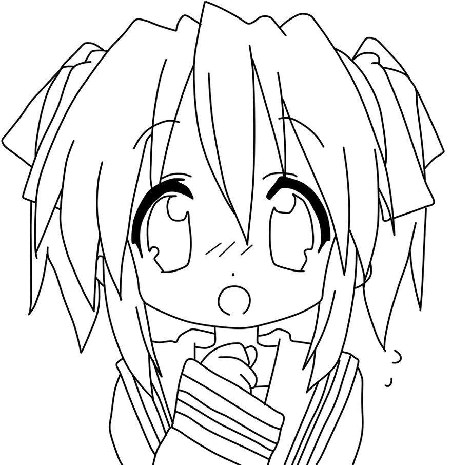 Anime Neko Character Colring Page
