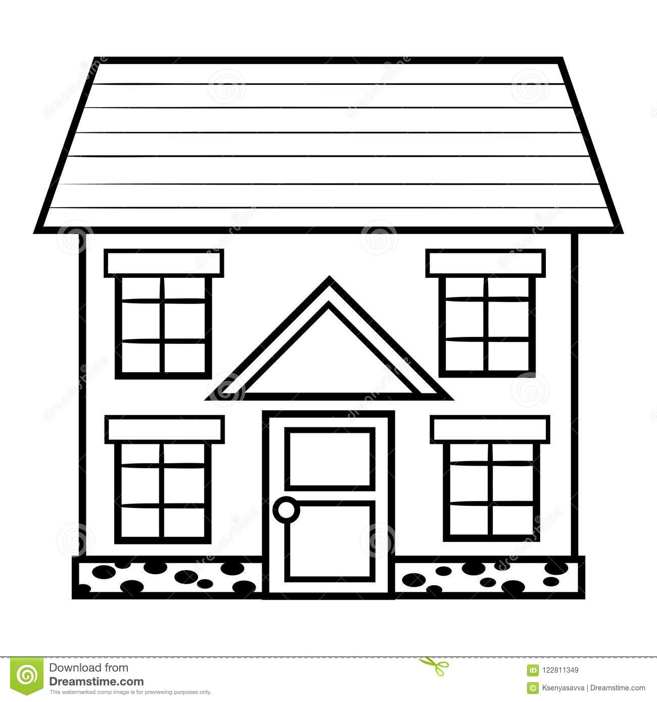 Coloring Book, House Stock Vector  Illustration Of Education