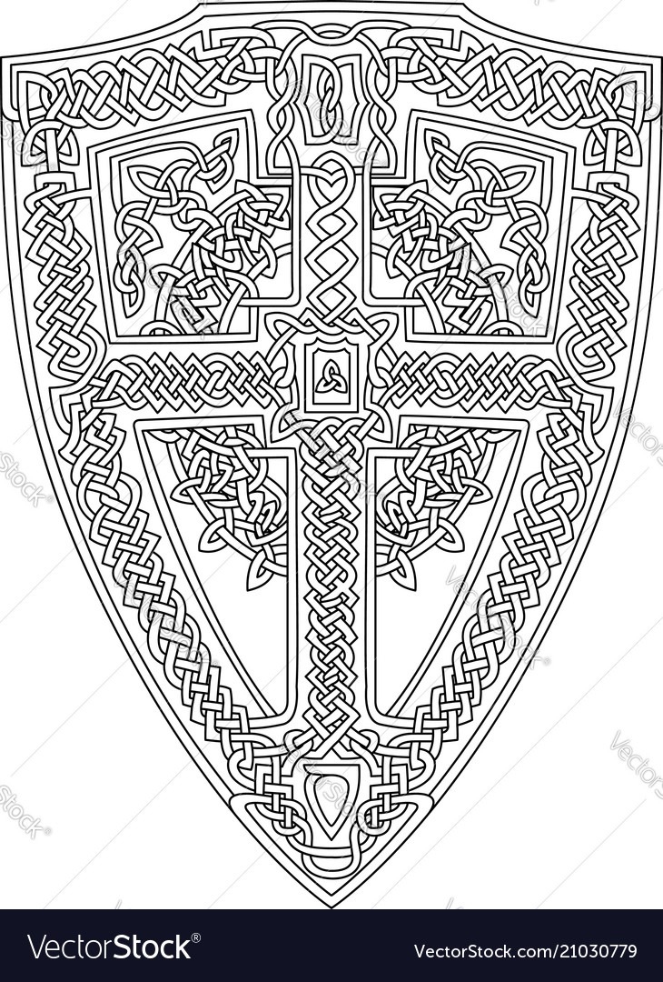 Coloring Book Page With Celtic Shield Royalty Free Vector