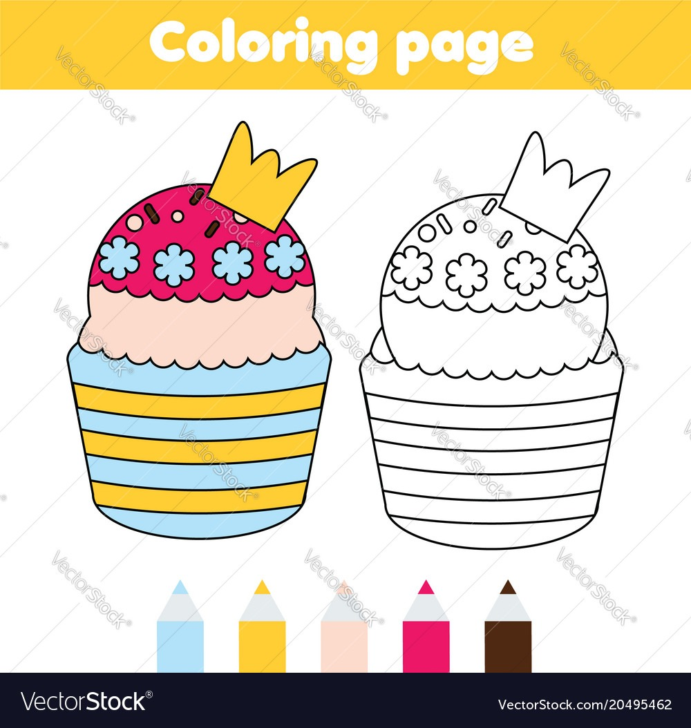 Coloring Page Educational Children Game Yummy Vector Image