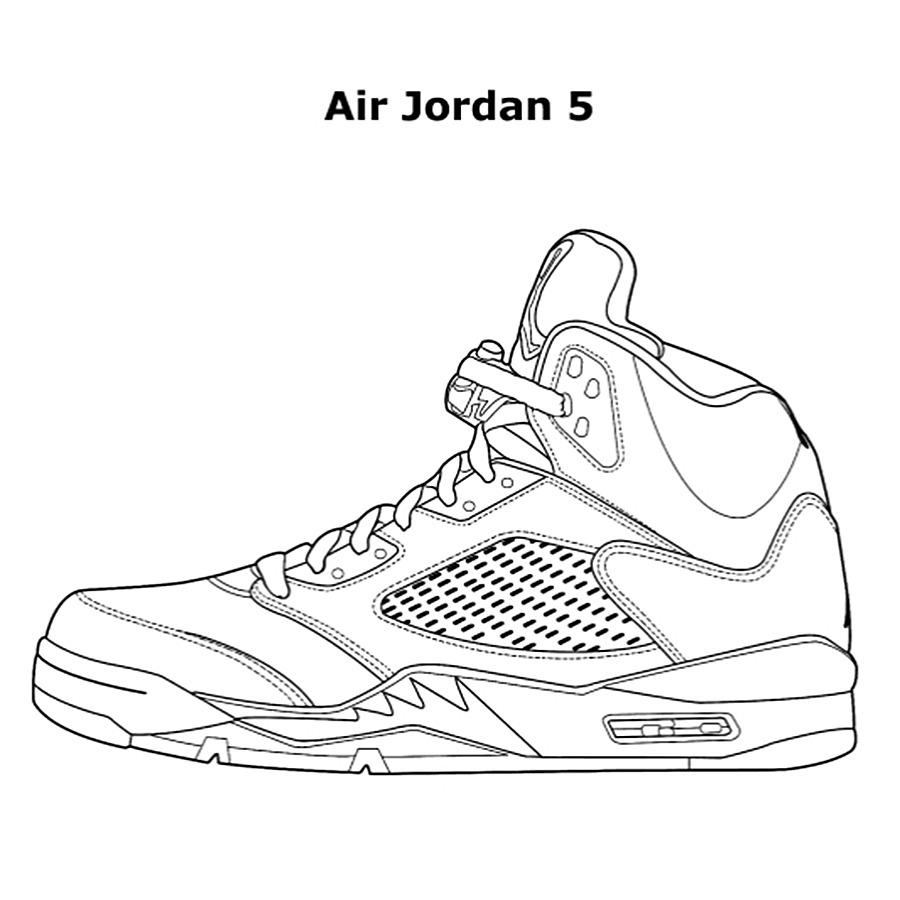 Coloring Pages ~ Coloring Pages Air Jordan Collections Free Shoes