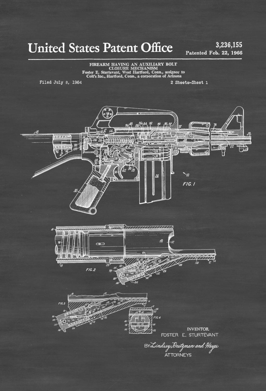 Colt Automatic Rifle Patent – Patent Print, Wall Decor, Gun Art