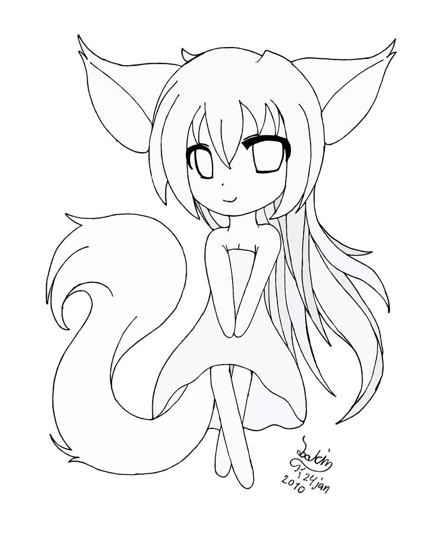 Cute Anime Cat Coloring Pages 18 Best Photos Of Fox Chibi 900×1101