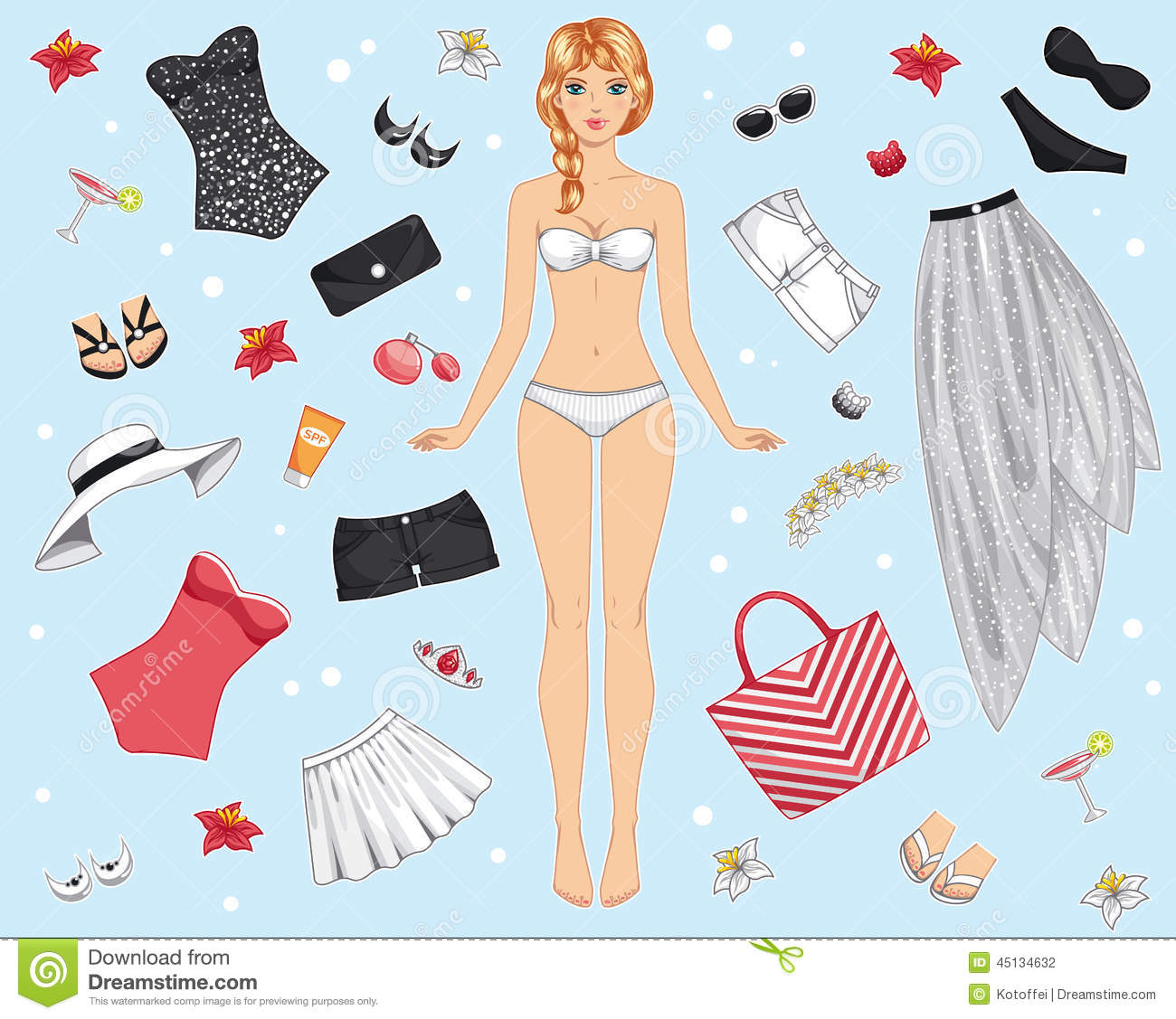 Cute Dress Up Paper Doll  Stock Illustration  Illustration Of