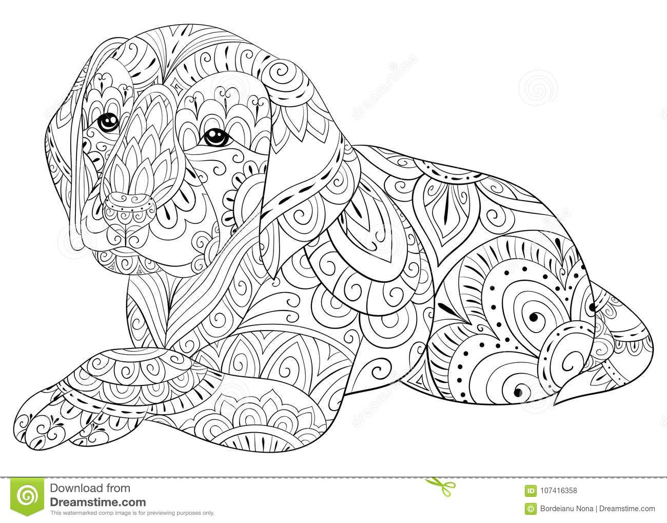 Adult Coloring Page A Cute Dog For Relaxing Zen Art Style