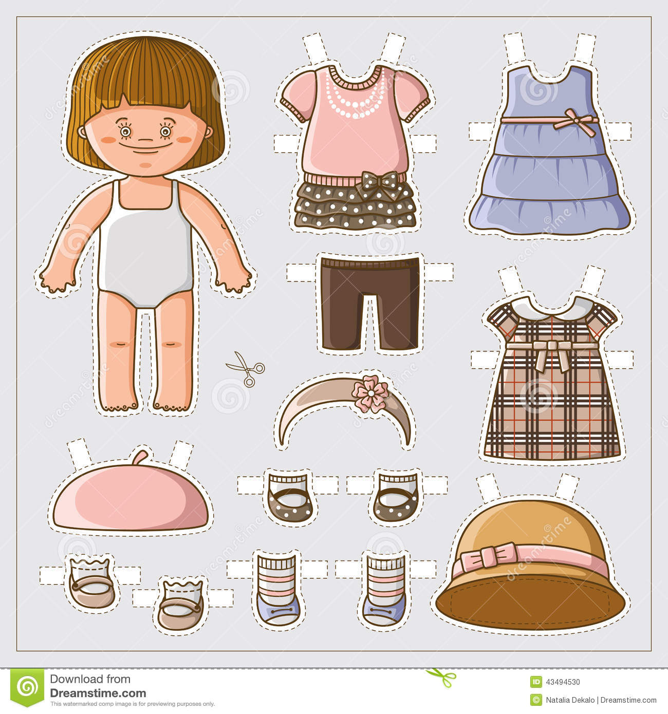 Cute Paper Doll Stock Vector  Illustration Of Cute, Card