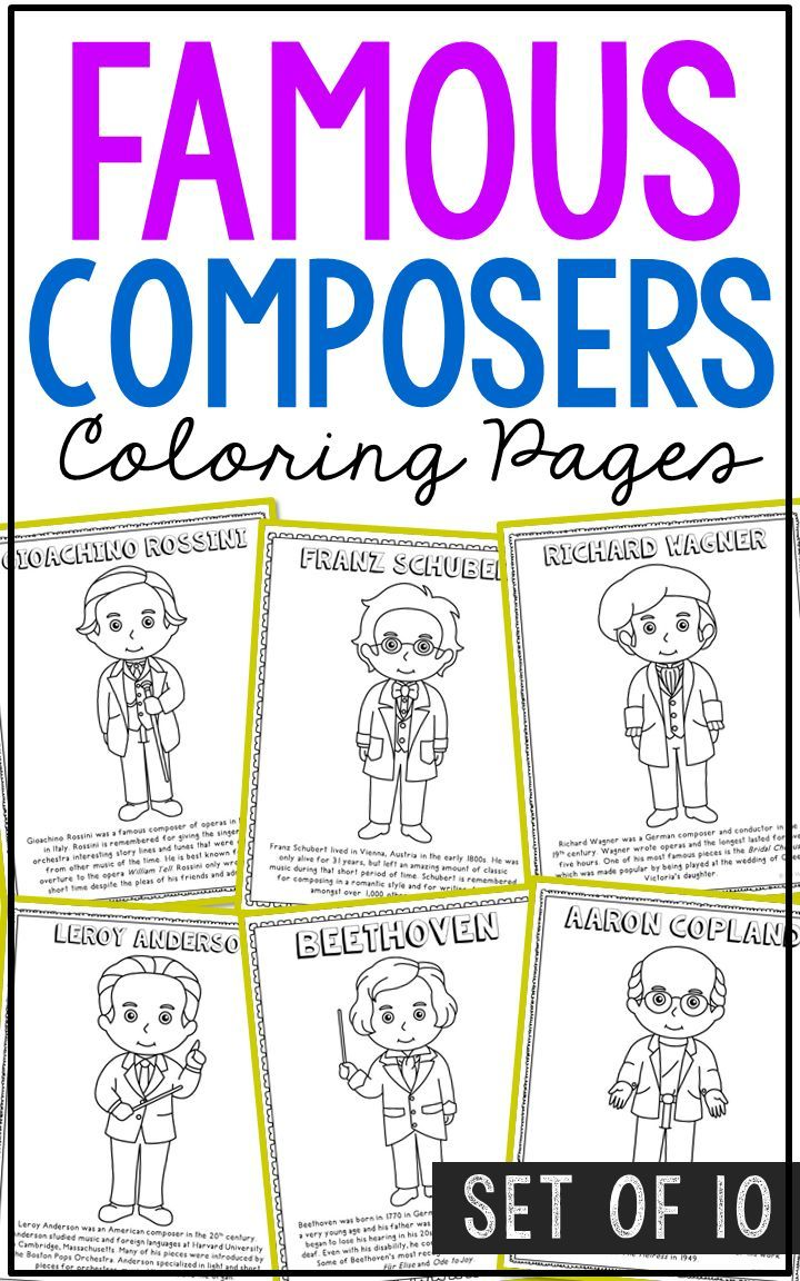 Famous Composers Coloring Page Crafts Or Posters