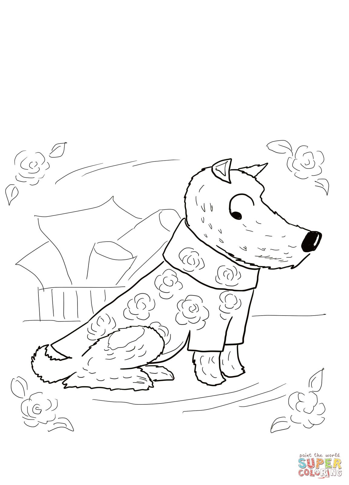 Harry The Dirty Dog Roses Shirt Coloring Page