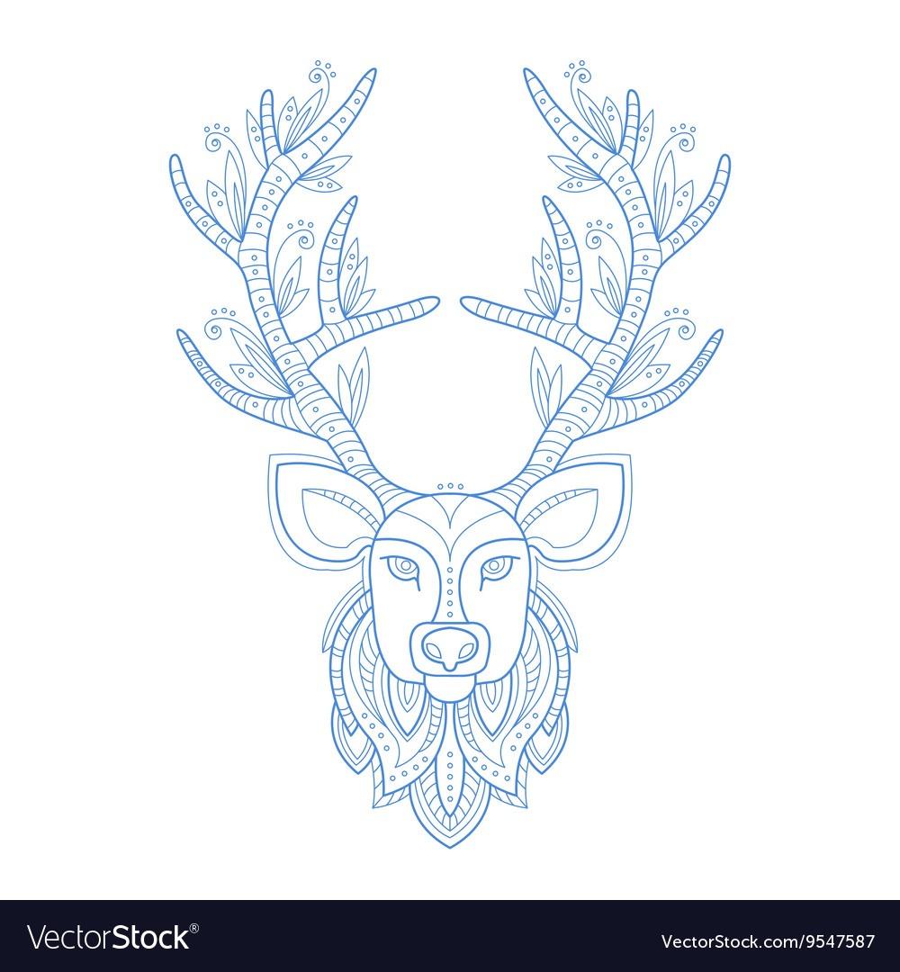 Deer Head Stylised Doodle Zen Coloring Book Page Vector Image