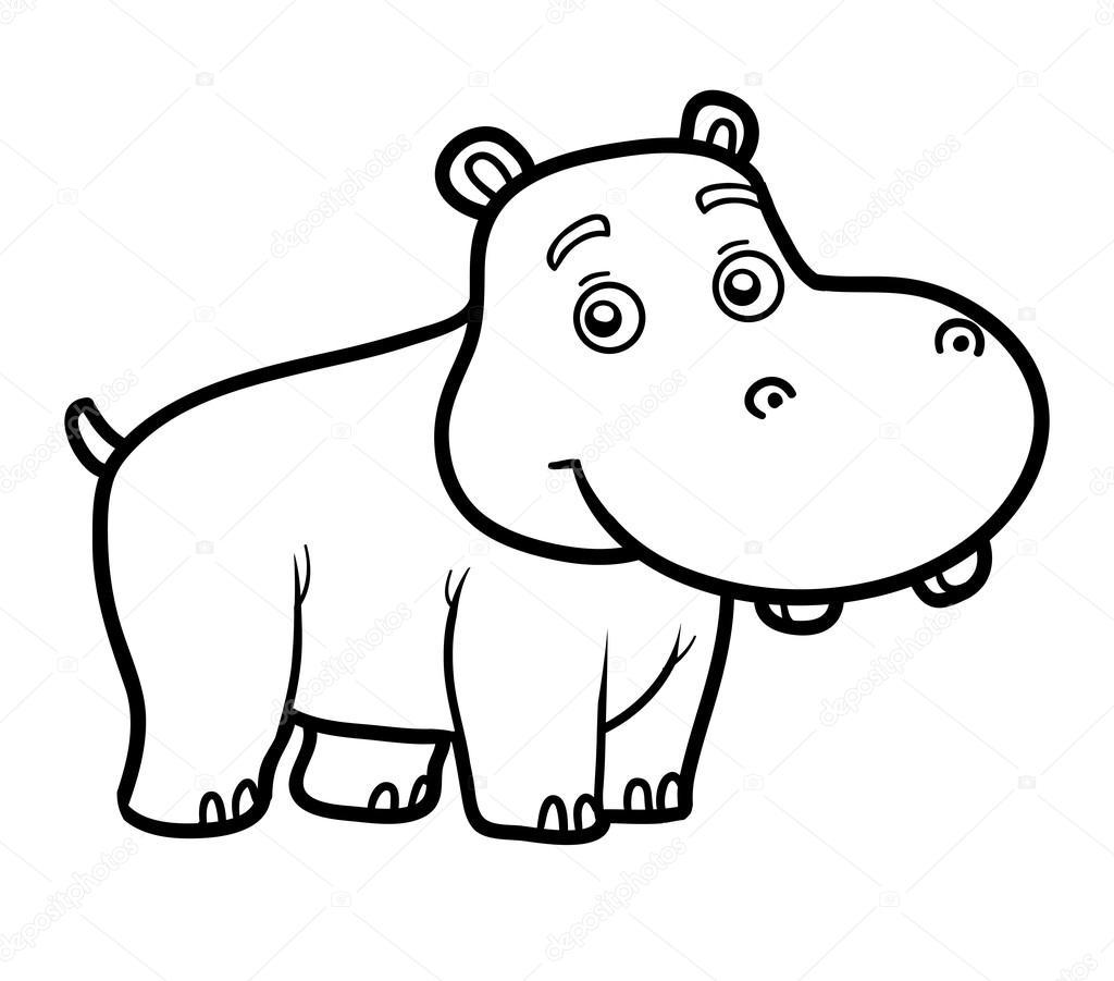 Livro De Colorir Para Chilren, Pequeno Hipopótamo — Vetores De