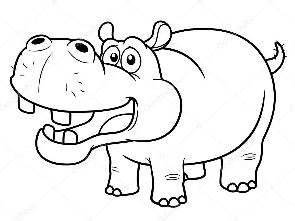 Desenho De Hipopótamo — Vetores De Stock © Sararoom  28933871