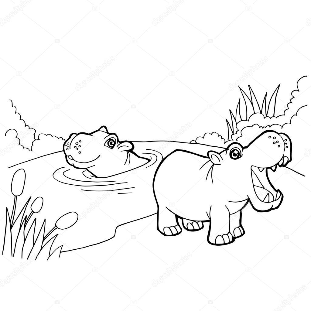Desenho De Hipopótamo Vector Páginas De Colorir — Vetores De Stock