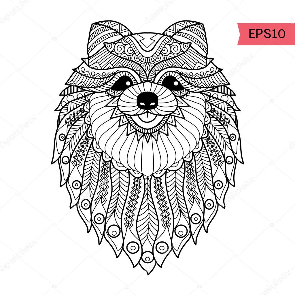 Hand Drawn Zentangle Pom Dog Background For Coloring Page — Stock