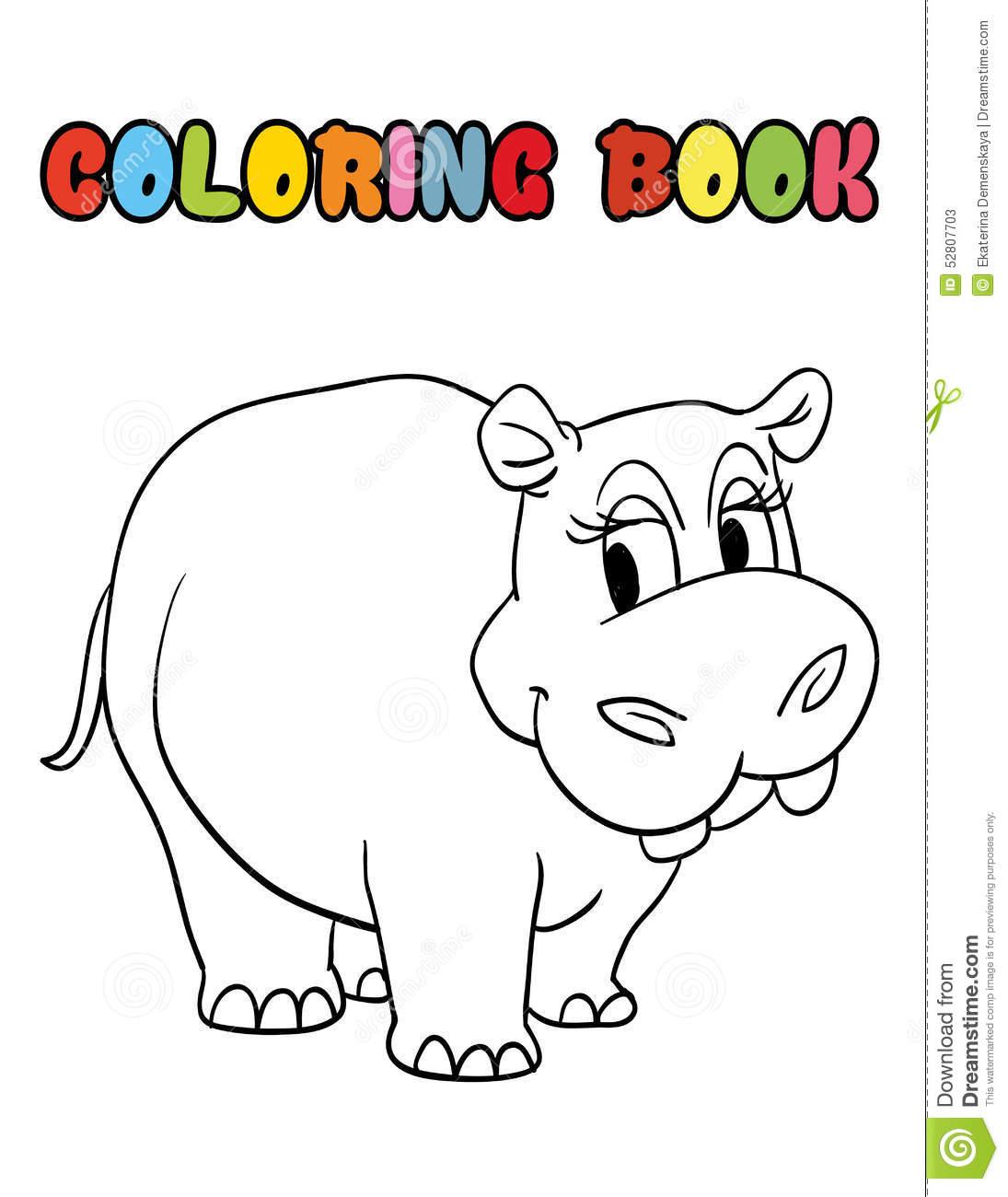 Desenhos Animados Do Hipopótamo Do Livro Para Colorir Ilustração