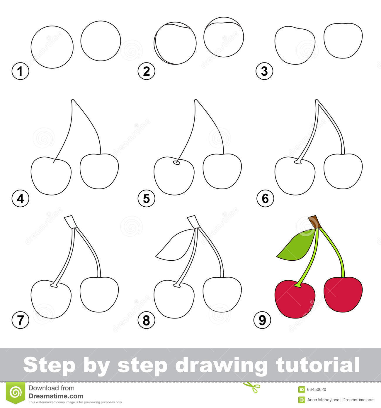 Drawing Tutorial  How To Draw A Cherry Stock Vector